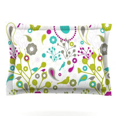 Bird Fantasy by Nicole Ketchum Featherweight Pillow Sham Size: Queen, Fabric: Cotton