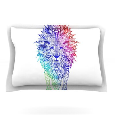 Rainbow Lion by Monika Strigel Featherweight Pillow Sham Size: Queen, Fabric: Cotton