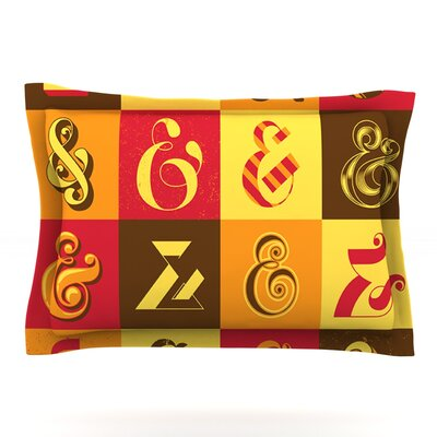 Ampersands by Roberlan Featherweight Pillow Sham Size: Queen, Fabric: Cotton