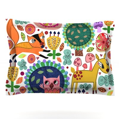 Woodland Critters by Jane Smith Featherweight Pillow Sham Size: King, Fabric: Cotton