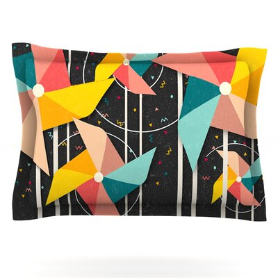 Danny Ivan Colorful Pinwheels Black AbstractFeatherweight Sham Size: Standard, Fabric: Cotton