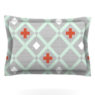 Mint Lattice Weave by Pellerina Design Featherweight Pillow Sham Size: King, Fabric: Cotton
