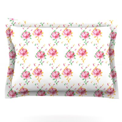 Cross Stitch Flowers by Laura Escalante Featherweight Pillow Sham Size: King, Fabric: Cotton