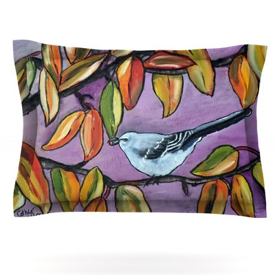 Cathy Rodgers Mockingbird Purple Orange Featherweight Sham Size: King, Fabric: Cotton