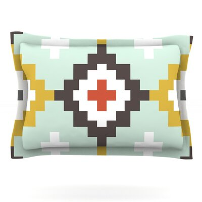 Gold Mint Moroccan Diamonds by Pellerina Design Featherweight Pillow Sham Size: Queen, Fabric: Cotton