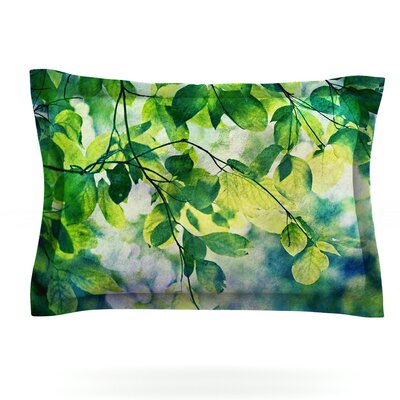 Leaves by Sylvia Cook Featherweight Pillow Sham Size: King, Fabric: Cotton