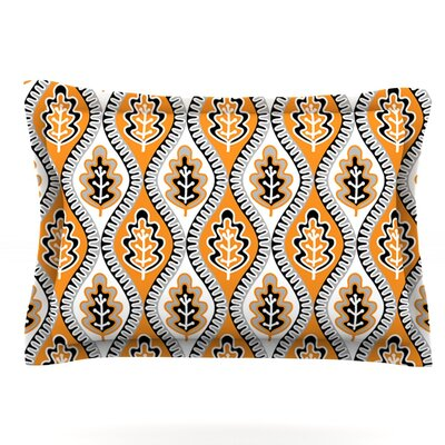 Oak Leaf by Jacqueline Milton Woven Pillow Sham Color: Orange, Size: Queen