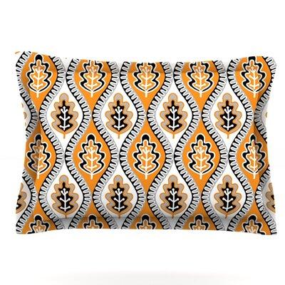 Oak Leaf by Jacqueline Milton Woven Pillow Sham Size: King, Color: Orange