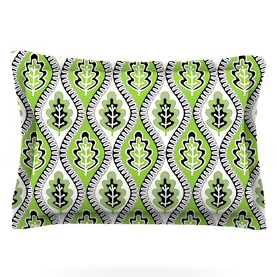 Oak Leaf by Jacqueline Milton Woven Pillow Sham Size: Queen, Color: Lime