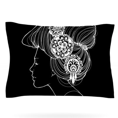 Jennie Penny Featherweight Pillow Sham Size: Queen, Color: Black, Fabric: Cotton