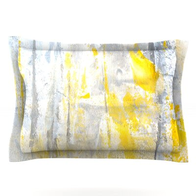 CarolLynn Tice Abstraction Grey Yellow Featherweight Sham Size: King, Fabric: Cotton