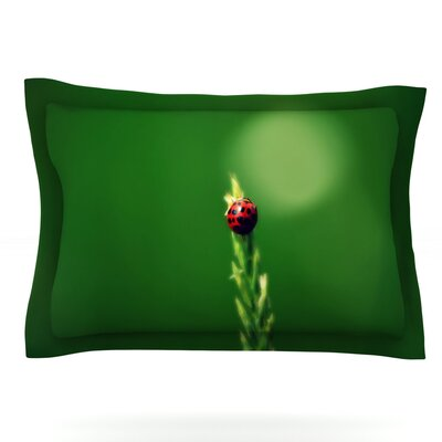 Ladybug Hugs by Robin Dickinson Featherweight Pillow Sham Size: Queen, Fabric: Cotton
