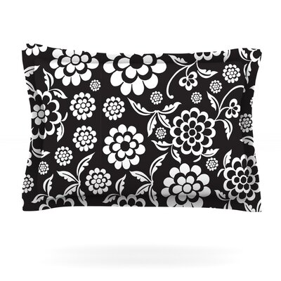 Cherry Floral by Nicole Ketchum Featherweight Pillow Sham Size: King, Color: Black, Fabric: Cotton