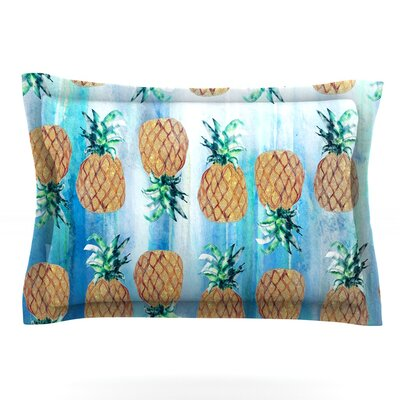 Pineapple Beach by Nikki Strange Featherweight Pillow Sham Size: King, Fabric: Cotton