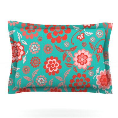 Cherry Floral by Nicole Ketchum Featherweight Pillow Sham Size: Queen, Color: Sea, Fabric: Cotton