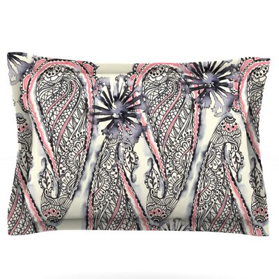 Inky Paisley Bloom by Sonal Nathwani Featherweight Pillow Sham Size: Queen, Fabric: Cotton