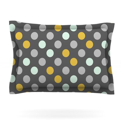 Minty Polka by Pellerina Design Featherweight Pillow Sham Size: King, Fabric: Cotton