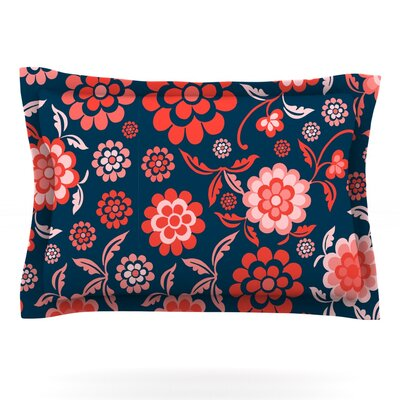 Cherry Floral by Nicole Ketchum Featherweight Pillow Sham Size: Queen, Color: Midnight, Fabric: Cotton