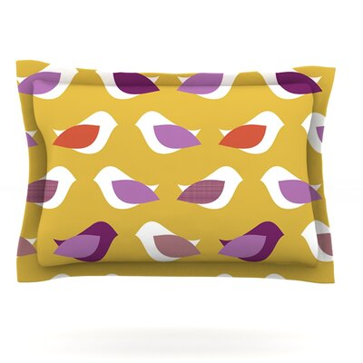 Golden Orchid Birds by Pellerina Design Featherweight Pillow Sham Size: Queen, Fabric: Cotton
