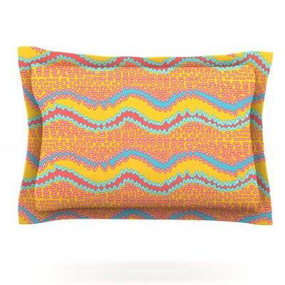 Pink Waves by Nandita Singh Featherweight Pillow Sham Size: Queen, Fabric: Cotton