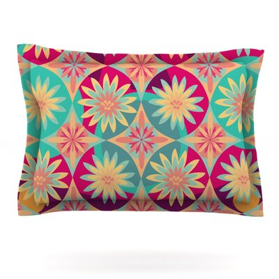 Happy Flowers by Nika Martinez Featherweight Pillow Sham Size: King, Fabric: Cotton