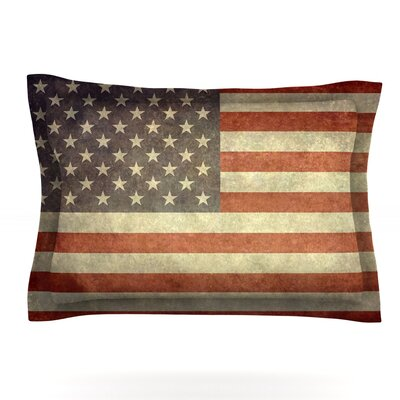 Flag of US Retro by Bruce Stanfield Featherweight Pillow Sham Size: Queen, Fabric: Cotton