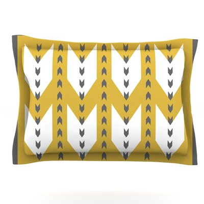 Golden Aztec by Pellerina Design Featherweight Pillow Sham Size: Queen, Fabric: Cotton