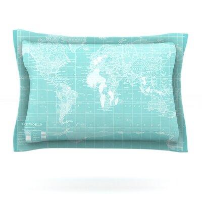 Welcome to my World by Catherine Holcombe Featherweight Pillow Sham Size: Queen, Color: Aqua, Fabric: Cotton