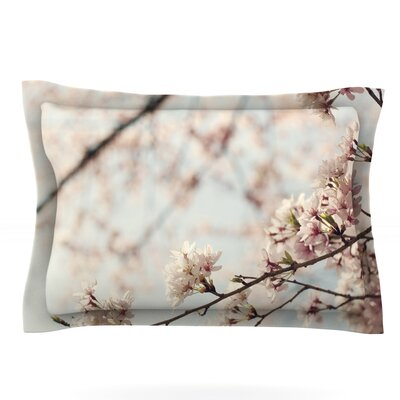 Japanese Cherry Blossom by Catherine McDonald Featherweight Pillow Sham Size: Queen, Fabric: Cotton