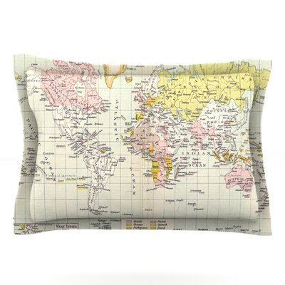 Travel by Catherine Holcombe Featherweight Pillow Sham Size: Queen, Fabric: Cotton