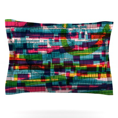 Squares Traffic by Frederic Levy-Hadida Featherweight Pillow Sham Size: King, Color: Pastel, Fabric: Cotton