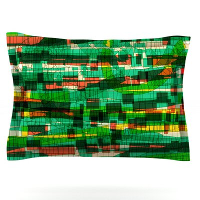 Squares Traffic by Frederic Levy-Hadida Featherweight Pillow Sham Size: King, Color: Green, Fabric: Cotton