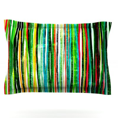 Fancy Stripes by Frederic Levy-Hadida Featherweight Pillow Sham Size: Queen, Color: Green, Fabric: Cotton