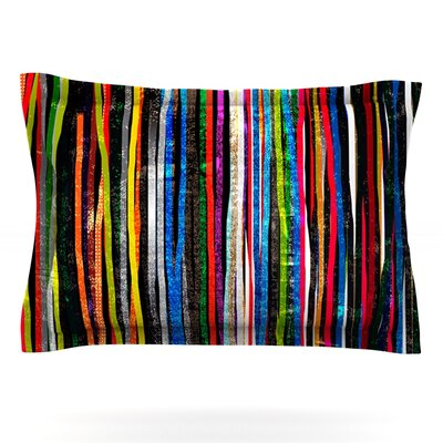 Fancy Stripes by Frederic Levy-Hadida Featherweight Pillow Sham Size: King, Color: Dark, Fabric: Cotton