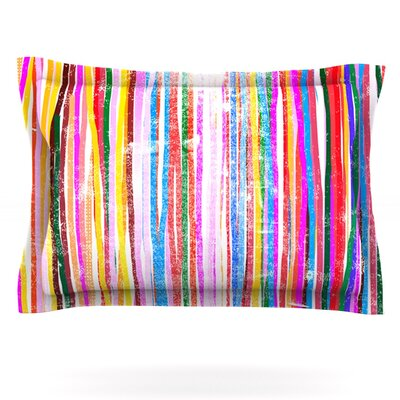 Fancy Stripes by Frederic Levy-Hadida Featherweight Pillow Sham Size: Queen, Color: Pastel, Fabric: Cotton
