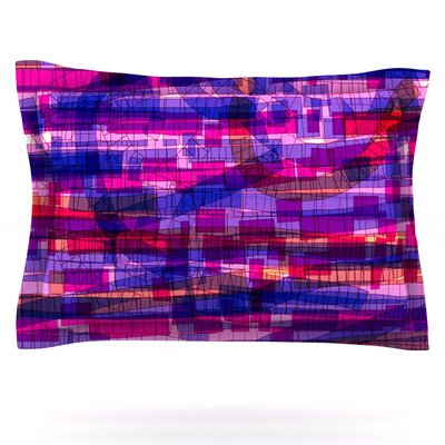 Squares Traffic by Frederic Levy-Hadida Featherweight Pillow Sham Size: Queen, Color: Pink, Fabric: Cotton