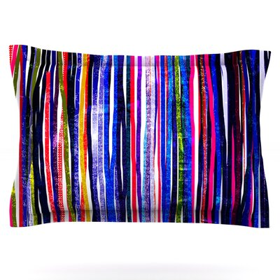 Fancy Stripes by Frederic Levy-Hadida Featherweight Pillow Sham Size: King, Color: Purple, Fabric: Cotton