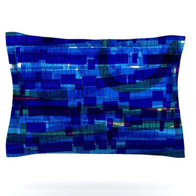 Squares Traffic by Frederic Levy-Hadida Featherweight Pillow Sham Size: King, Color: Blue, Fabric: Woven Polyester