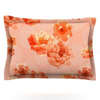 Lace Peony by Pellerina Design Featherweight Pillow Sham Size: King, Color: Orange, Fabric: Cotton