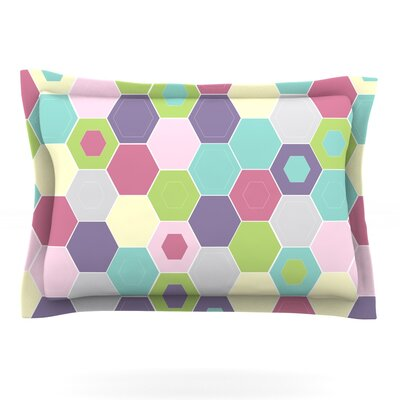 Pale Bee Hex. by Nicole Ketchum Featherweight Pillow Sham Size: Queen, Fabric: Cotton
