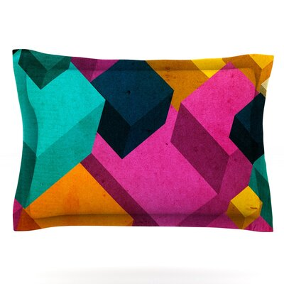 Happy Cubes by Danny Ivan Featherweight Pillow Sham Size: King, Fabric: Cotton