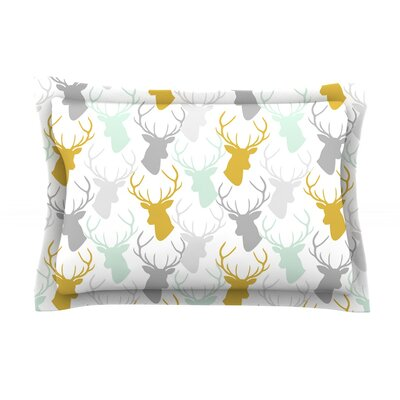 Scattered Deer White by Pellerina Design Featherweight Pillow Sham Size: Queen