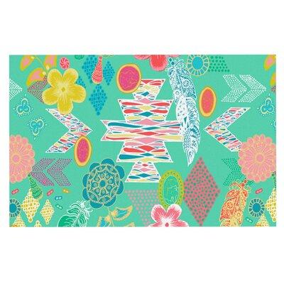 Anneline Sophia Aztec Boho Doormat Color: Teal