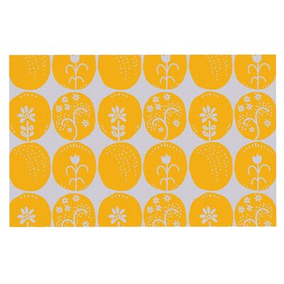 Anneline Sophia Dotty Papercut Circles Doormat Color: Yellow/Gray