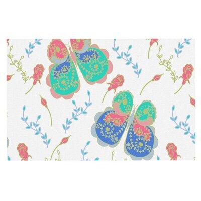 Anneline Sophia Leafy Butterflies Doormat Color: Pink/Teal