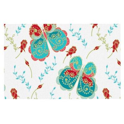 Anneline Sophia Leafy Butterflies Doormat Color: Red/Aqua