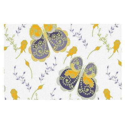 Anneline Sophia Leafy Butterflies Doormat Color: Yellow/Purple