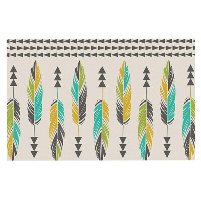 Amanda Lane Painted Feathers Doormat Color: Tan Tribal