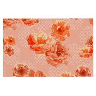 Pellerina Design Lace Peony Floral Doormat Color: Orange