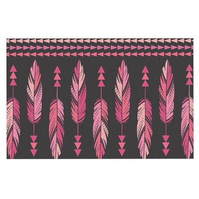 Amanda Lane Painted Feathers Doormat Color: Pink Dark